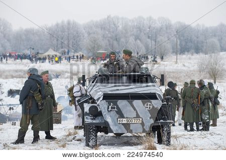 SAINT PETERSBURG, RUSSIA - JANUARY 14, 2018: Participants of the military and historical festival