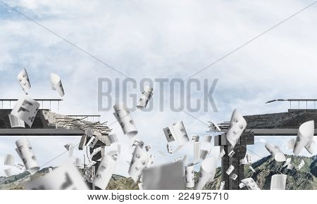 Broken concrete bridge with flying papers among high mountains and cloudly skyscape on background. 3D rendering. poster