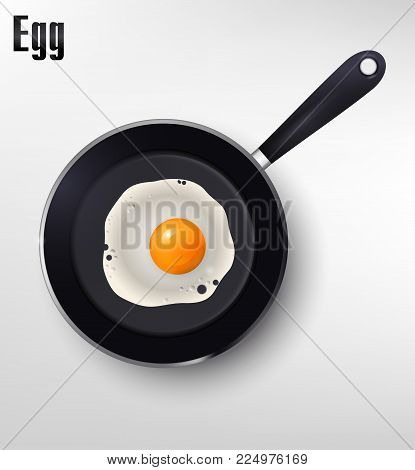 Realistic illustration vector fried egg on frying pan, fried eggs, eps vector