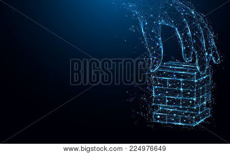Abstract hand playing wood blocks stack game form lines and triangles, point connecting network on blue background. Illustration vector