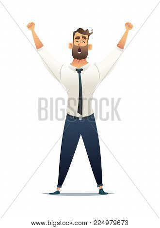 Businessman rejoices in victory. Manager raised his hands up in a sign of victory. Business success concept