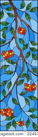 Illustration in stained glass style with a branch of mountain ash, clusters of berries and leaves against the sky,, vertical image