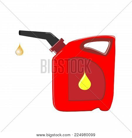 Canister of gasoline. Isolated on white background. Vector Illustration