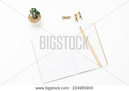 Notebook with a pencil on a white background and cactus. Mininmalist style
