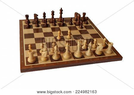 Photo of chess opening on white background. Modern Defence.