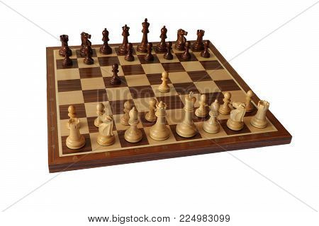 Photo of chess opening on white background. Sicilian Defence.