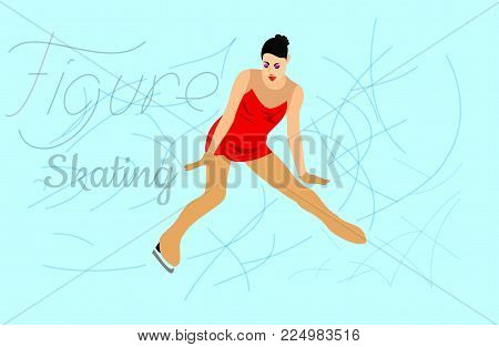 figure skating young girl athlete skates rink ice competition sport figure dance elegance plastic silhouette form performance fad achievement