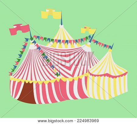 color circus tent on background of green