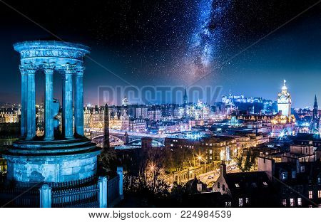 Night View From Calton Hill To Edinburgh With Stars