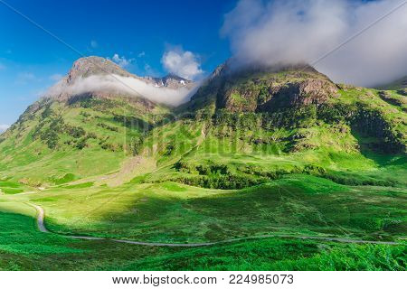 Sunrise At Mountains Of Green Glencoe, Scotland, Europe