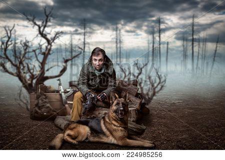 Stalker soldier and dog