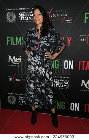 LOS ANGELES - FEB 2:  Rosario Dawson receives the Social Justice Filming In Italy Award at the Italian Cultural Institute on February 2, 2018 in Los Angeles, CA