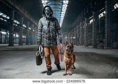 Stalker in gas mask and pet, survivors