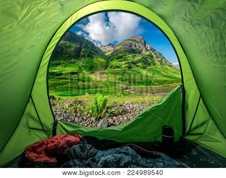 Breathtaking View From Tent To Glencoe At Sunrise, Scotland