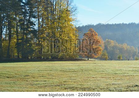 view of autumn landscape, southern Bohemia . Czech Republic