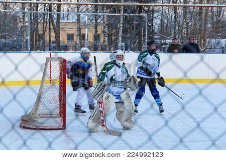 Youth Ice hockey match Shuiskie Sokoly vs. Himik, February 3, 2018. Kuzmolovo, Russia