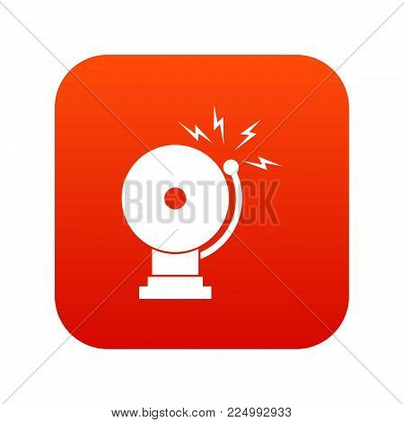 Fire alarm icon digital red for any design isolated on white vector illustration