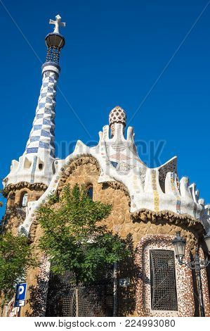 The Park Guell is a public park system composed of gardens and architectonic elements located on Carmel Hill, in Barcelona, Catalonia, Spain