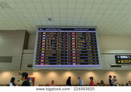 Arrival Board In Arrival Hall In Don Mueang International Airport