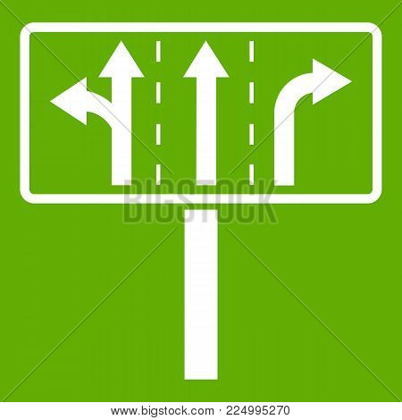 Traffic lanes at crossroads junction icon white isolated on green background. Vector illustration