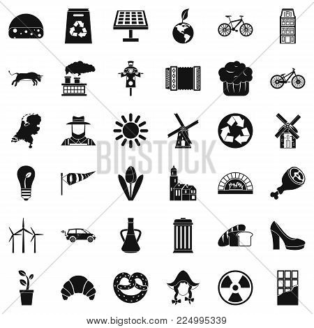 Windmill icons set. Simple set of 36 windmill vector icons for web isolated on white background