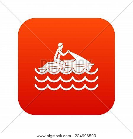 Man on jet ski rides icon digital red for any design isolated on white vector illustration