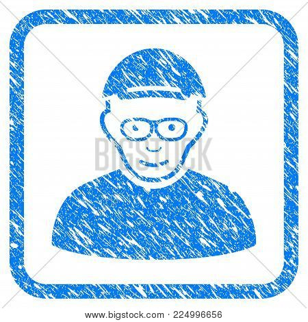 Pensioner rubber seal stamp watermark. Icon vector symbol with unclean design and corrosion texture in rounded squared frame. Scratched blue sticker. Male face has happiness feeling.