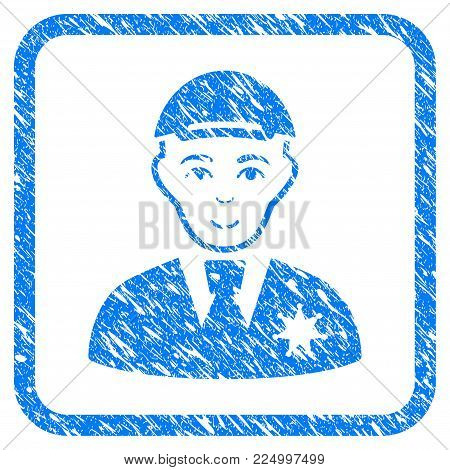 Police Sheriff rubber seal stamp imitation. Icon vector symbol with grunge design and unclean texture in rounded frame. Scratched blue sign. Guy face has positive sentiment.