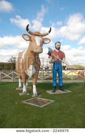 Giant Cow And Paul Bunyan