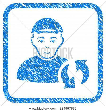 User Refresh rubber seal stamp watermark. Icon vector symbol with scratched design and dust texture in rounded square. Scratched blue stamp imitation. Person face has glad feeling.