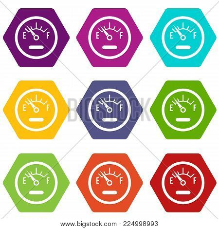 Fuel sensor icon set many color hexahedron isolated on white vector illustration