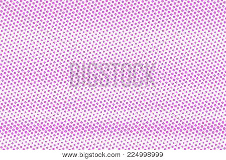 Pink On White Dotted Halftone. Half Tone Vector Background. Smooth Dotted Gradient. Feminine Futuris