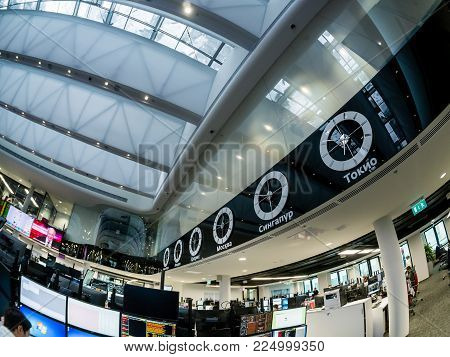 Moscow, Russia - Jan 30, 2018: View To Busy Trading Floor Of The Sberbank Cib Stock Exchange In Mosc