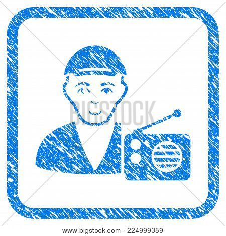 Radio Dictor rubber stamp watermark. Icon vector symbol with scratched design and dust texture in rounded rectangle. Scratched blue sign. Human face has joyful expression.