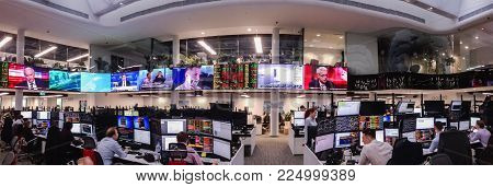 MOSCOW, RUSSIA - JAN 30, 2018: Panoramic view to trading floor of the Sberbank CIB stock exchange in Moscow on Jan 30, 2018. It is the largest trading floor in Europe with 4000 square meters area.