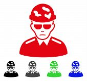 Sadly Swat Soldier vector icon. Vector illustration style is a flat iconic swat soldier symbol with grey, black, blue, red, green color variants. Face has problem emotion. poster