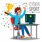 Cyber Sport Player Vector. Sitting At The Table. Cyber Sport Tournament. Competitive MMORPG. Final Match. Game Tactic. Flat Cartoon Illustration poster