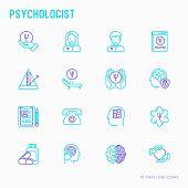Psychologist thin line icons set: psychiatrist, disease history, armchair, pendulum, antidepressants, psychological support. Vector illustration. poster