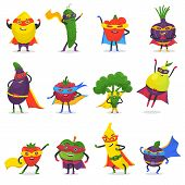 Superhero fruits vector fruity cartoon character of super hero expression vegetables with funny apple banana or pepper in mask illustration fruitful vegetarian diet set isolated on white background. poster