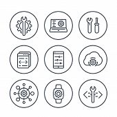 development, engineering, configuration line icons in circles for apps and web poster