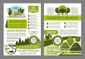 Green landscape design brochure template for build and maintain service or eco environment company. Vector poster for gardening or garden horticulture landscaping of green ecology nature trees or park poster