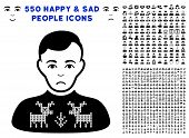 Sadly Deers Pullover Boy pictograph with 550 bonus pity and happy user pictures. Vector illustration style is flat black iconic symbols. poster