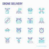 Drone delivery thin line icons set: quadcopter, flying drone with package, remote control, front and side view. Modern vector illustration of innovative transport. poster