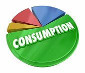 Consumption Pie Chart Consume Resources Products 3d Illustration poster