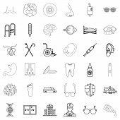 Pharmaceutical chemist icons set. Outline set of 36 pharmaceutical chemist vector icons for web isolated on white background poster