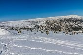 Panorama of Snow Holes With Labska Bouda And Wawel Transmitter - Krkonose (Giant Mountains), Czech Republic, Europe poster