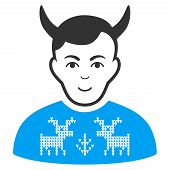 Deers Pullover Horned Husband vector icon. Style is flat graphic bicolor symbol, blue and gray colors, white background. poster