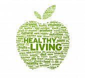 Green Healthy Living Apple Illustration on white background. poster