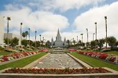 view looking along the garden at the LDS Temple in the SF Bay area poster