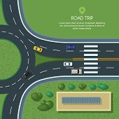 Vector flat illustration of roundabout road junction and city transport. City road, cars, crosswalk, trees and house top view. Street traffic, automobiles and transport design elements. poster